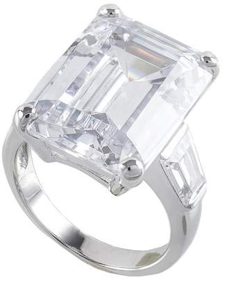 Kenneth Jay Lane CZ By Prong Set Emerald with Step Cut Band Ring