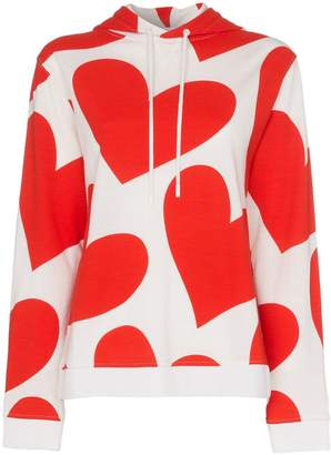 House of Holland x THE WOOLMARK COMPANY heart print hooded merino wool jumper