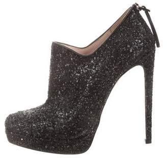 Miu Miu Glitter Round-Toe Ankle Boots