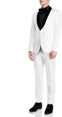 Dolce & Gabbana Two-Piece Velvet Trim Floral Jacquard Suit