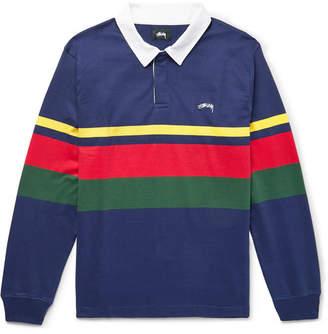 Stussy Lucas Striped Cotton-Jersey Polo Shirt