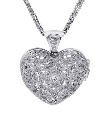 18K White Gold 3.75ct. Brilliant Baguette Diamond Heart Locket Pendant Necklace