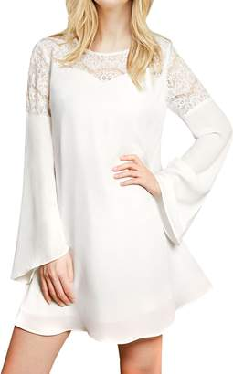 Allegra K Women's Lace Panel Bell Sleeves Fully Lined Dress L