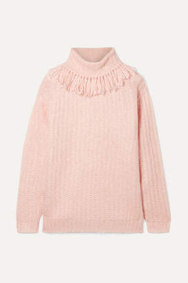 Miu Miu Tasseled Mohair-blend Turtleneck Sweater - Pink