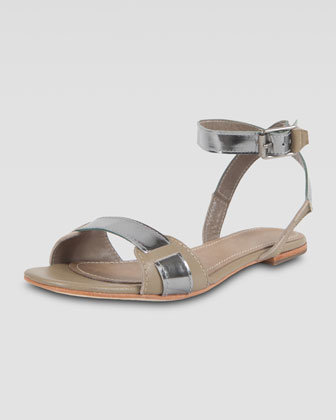 Elizabeth and James Women's Two-Tone Flat Sandal