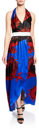 Balmain Dragon-Print Silk Halter Coverup Dress