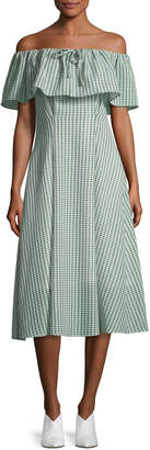 Neiman Marcus Rejina Pyo Olivia Off-the-Shoulder Gingham-Printed Dress