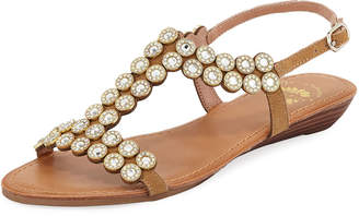 Premium Collection By Yellow Box Beaming Embellished Flat Sandals, Neutral