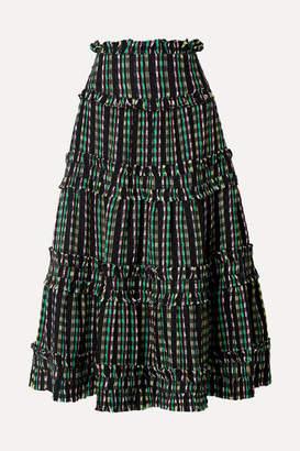 Proenza Schouler Tiered Tweed Maxi Skirt - Black