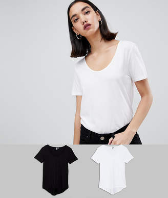 Asos DESIGN t-shirt with scoop neck and curved hem 2 pack SAVE