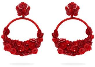 Oscar de la Renta Floral Embellished Clip On Earrings - Womens - Red