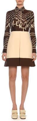 Valentino Long-Sleeve A-Line Chevron Logo-Print Silk Twill Dress