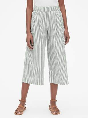 Gap High Rise Stripe Wide-Leg Crop Pants in Linen-Cotton
