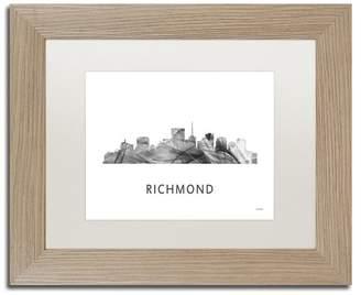 Richmond Trademark Fine Art Marlene Watson 'Richmond Virginia Skyline' Matted Art, Birch Frame, White