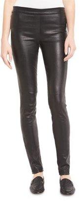 Theory Adbelle L2 Bristol Leather Leggings, Garnet $995 thestylecure.com