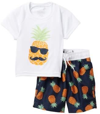 Trunks Surf and Swim CO. Pineapple Rash Guard & Swim Trunk Set (Toddler & Little Boys)