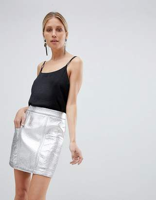 UNIQUE21 Unique 21 Silver Metallic High Waist Skirt