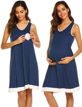 12a4aab3bb2 Ekouaer Womens Sleeveless Maternity Pregnancy and Breastfeeding Nursing  Nightgown