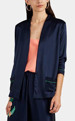 Warm Women's Maison Floral Silk Jacket - Navy
