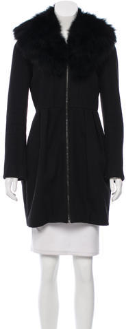 Alice + Olivia Alice + Olivia Wool Fox Fur-Trimmed Coat
