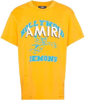 Amiri logo print perforated detail T-shirt