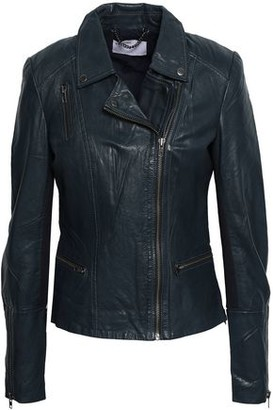 Muu Baa Muubaa Ribbed Knit-paneled Leather Biker Jacket