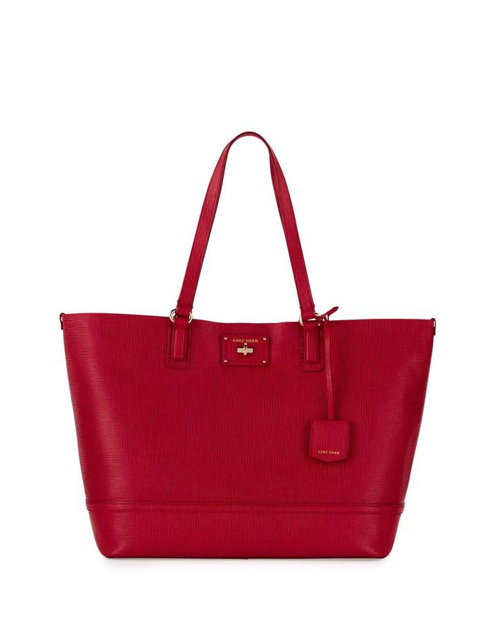 Cole Haan  Cole Haan Jozie Lizard-Embossed Leather Tote Bag, Crimson