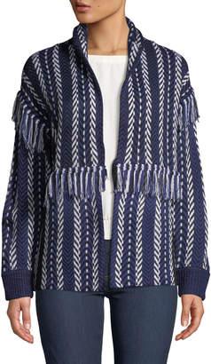Anna Cai Fringed Knit High-Neck Cardigan