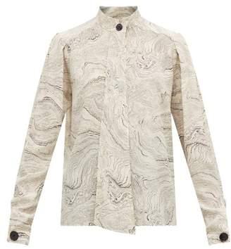 Lemaire Marble Print Silk Shirt - Womens - White Black