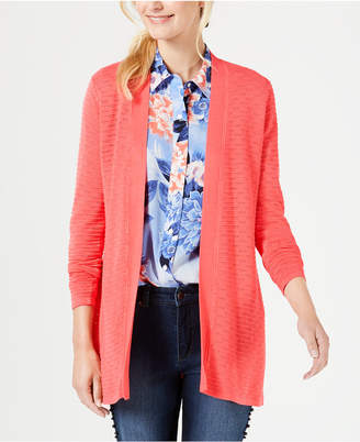 Charter Club Pointelle Ribbed-Knit Cardigan