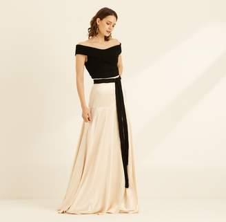 5eaecf280103 Amanda Wakeley Belted Crepe Back Satin Champagne Skirt
