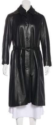 Salvatore Ferragamo Leather Collared Coat
