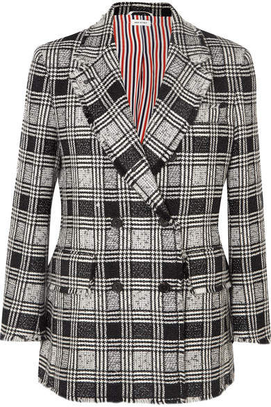 Frayed Checked Double-breasted Wool-blend Tweed Blazer - Black