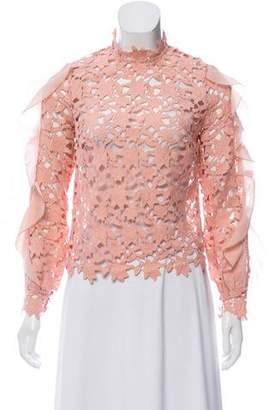 Self-Portrait Ruffle-Accented Guipure Lace Top