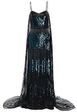 Burnett New York Women's Cape-Style Sequin Gown