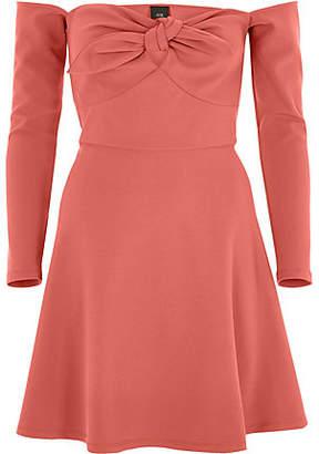 River Island Womens Dark Orange bardot long sleeve skater dress