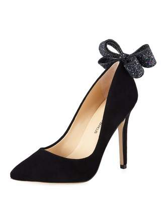 Neiman Marcus Verity Glitter Bow-Heel Suede Pumps