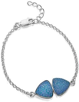 Jo for Girls Sterling Silver and Blue Druzy Bracelet of Length 16-18.5cm