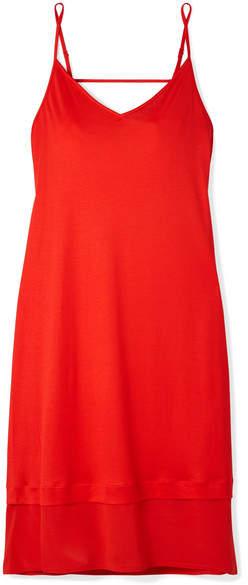 Hanro - Ayana Chiffon-paneled Modal And Silk-blend Chemise - Tomato red