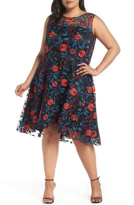 Tahari Floral Embroidery Fit and Flare Dress