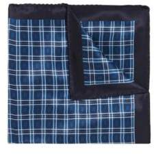 BOSS Hugo Italian-made silk pocket square plain check pattern One Size Open Blue