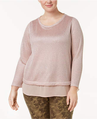 INC International Concepts I.n.c. Plus Size Layered-Look Metallic Knit Top, Created for Macy's