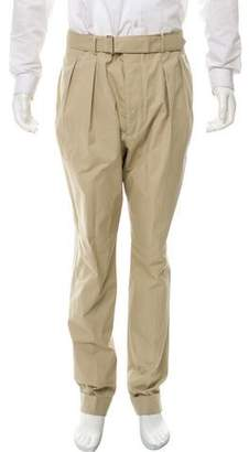 Officine Generale Pleated Pants With Cuffs