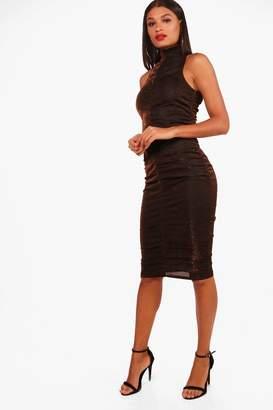 boohoo Lixz Ruched Metallic High Neck Midi Dress