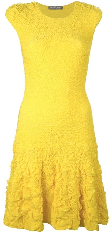Alexander McQueen puckering jacquard dress