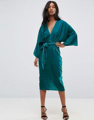 Asos DESIGN Velvet Plunge Kimono Midi Dress with Tie Waist