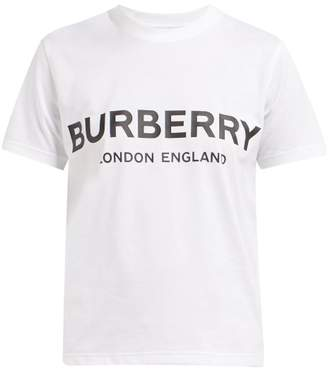 Burberry Logo Print Cotton T Shirt - Womens - White Black