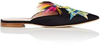 Alberta Ferretti Women's Bird-Embroidered Twill Mules