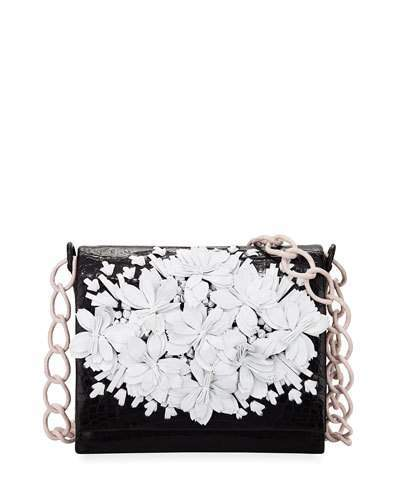 Nancy Gonzalez Floral Crocodile Crossbody Bag