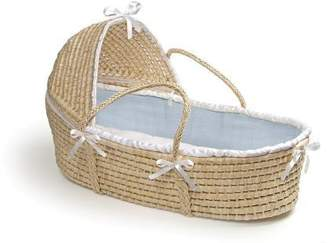 Badger Basket Natural Moses Basket with Hood, Blue Waffle Bedding by Company